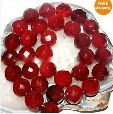 """6mm Faceted Red Ruby Round Loose Beads Gemstone 15"""" AAA ##QF1250"""