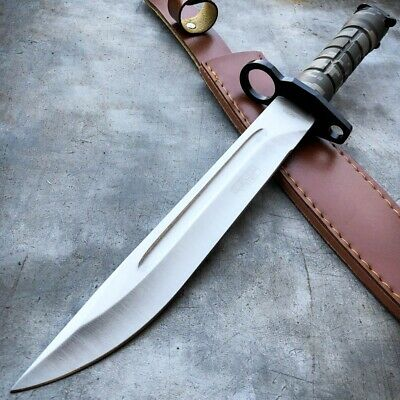 "13.5"" Military Survival FIXED BLADE Hunting Combat Bayonet Bowie Knife w/ Sheath"