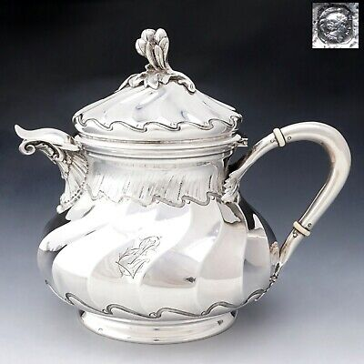 Antique French Sterling Silver Teapot / Coffee Pot Spiral Fluted, Pierre Quielle