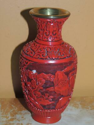 """Vintage Small Cinnabar 6"""" Vase red lacquer brass deep carving Chinese Antique"""