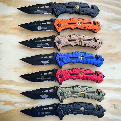 Military Combat Spring Opening Assisted Rescue Tactical Pocket Folding Knife