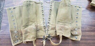 Vintage WWII 1942 Original US Army Canvas Leggings M1938 Dismounted 1R Military