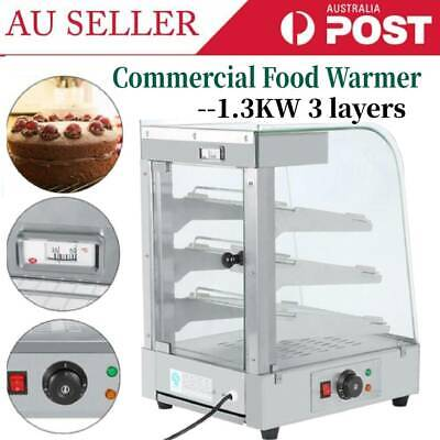 AU Commercial 3 Tier Food Pastry Pizza Soup Warmer Hot Display Showcase Cabinet