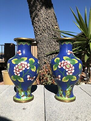 Pair Of Chinese antique cloisonne enamel vase