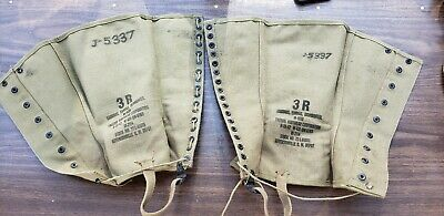 Vintage WWII 1942 Org US Army Canvas Leggings M1938 Dismounted 3R Military #1