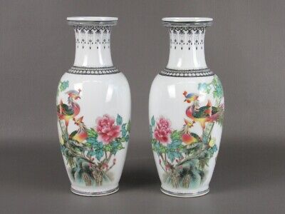 Vintage Pair of Vases Chinese Porcelain Figure Peacocks & Blossom Period Xx Sec