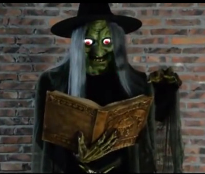 VIDEO! LifeSize ANIMATED SPELL SPEAKING WITCH BOOK HALLOWEEN PROP Haunted SPIRIT