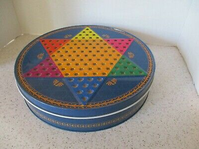 Tin, 5 Board Game Box, Chinese Checkers,Parcheesi, Chess, Checkers, Tic Tac Toe