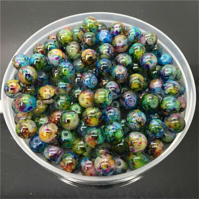 30Pcs 8mm Double Color Glass Pearl Round Spacer Loose Beads For Jewelry Making~