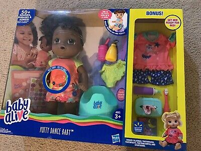 Baby Potty Alive Dance Hair Doll Curly Talking Pack 50 Sounds Phrases Hasbro