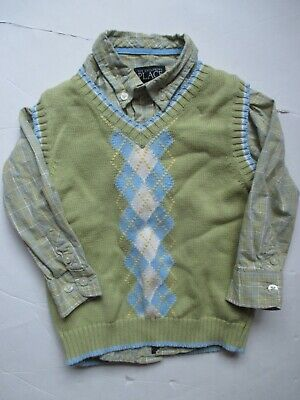 The Children's Place Green Plaid Dress Shirt Argyle Vest Set Easter Boys 3T VGUC