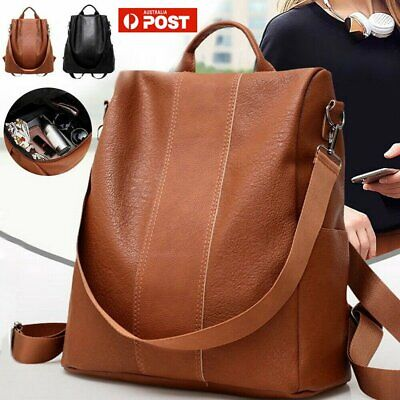 Women's Leather Backpack Anti-Theft Rucksack Shoulder Bag Black/Brown AU K0S5C!Q