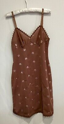 Vintage Chocolate Brown Embroidered Petticoat Slip Dress Lace Trim SW 10?