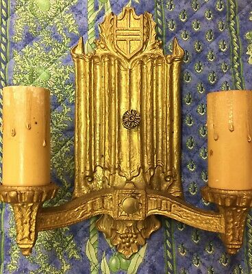 Pair of antique Art Deco Gothic Revival ca 1920 wall sconces bracket gilt metal