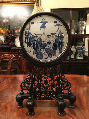 A Rare Chinese Qing Dynasty Porcelain Plaque Table Screen.