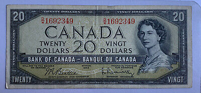 1954 Bank of Canada 20 Dollar - Beattie-Rasminsky- D/W - No Devils Face