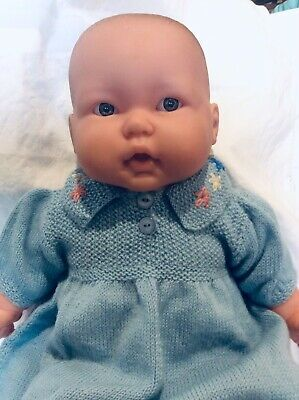 BERENGUER BABIES DOLL _ APPROX 49 cm TALL SOFT TORSO - IN NEW HAND KNITTED DRESS