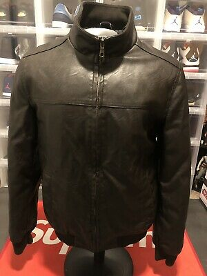 Tommy Hilfiger Dark Brown Mens' Size Small S Faux Leather Jacket