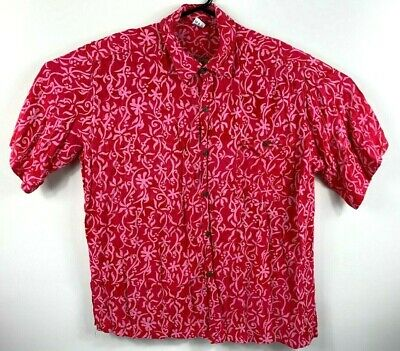 Ocean Collection Vintage 1990s Men's Hawaiian Shirt Size 2XL 100% Rayon Pink/Red