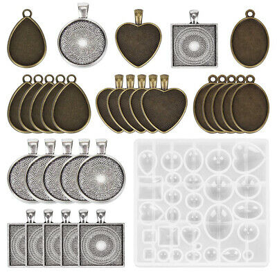 1Set DIY Resin Casting Molds Silicone Moulds Pendant Trays Jewelry Making Craft