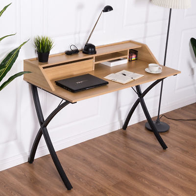 Retro Study Writing Table Vintage Computer Desk W/ Drawer Shelves Home Office