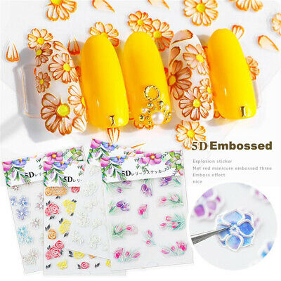 Nail Wrap 3D Acrylic  Nail Embossed Stickers Engraved Flower  Self Adhesive