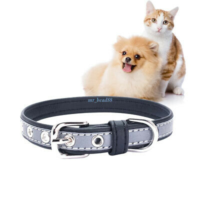 Pet Dog Collar Night Reflective Adjustable Strap For Small Medium Puppy Cat