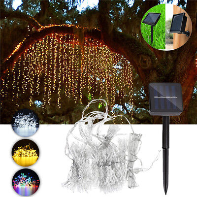 300LED Solar Powered Fairy String Curtain Light Lamp Outdoor Garden Xmas