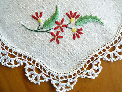 RED FLORAL SPRAY Vintage Hand Embroidered Small Doily Pair