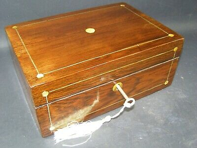 Antique Rosewood Desk Top Box Working Lock & Key c1880 Mother Of Pearl Roundels