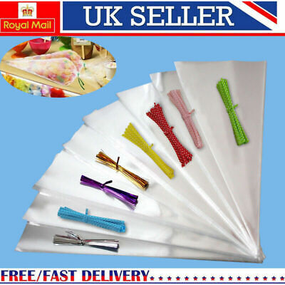 Clear Cellophane Cone Bags Twist Ties Large size Kids Party Sweet Cello Candy