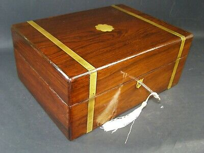 Antique Brass Banded & Center Document Box Working Lock & Key c1870 Rosewood
