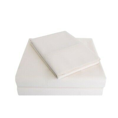 4-pc California King Ivory Percale Soft 100% Cotton Sheet Set 300 Thread Count