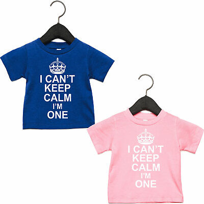 1st Birthday Outfit Girl or Boy, I Can't Keep Calm I'm One, T Shirt Present Baby