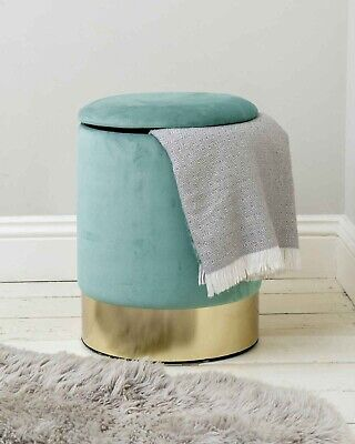 Velvet Upholstered Pouffe Storage Footstool Sea Green with Gold Trim