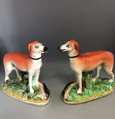 Pair of Antique Staffordshire Standing Greyhounds 19th C. Hunting (1 at fault)