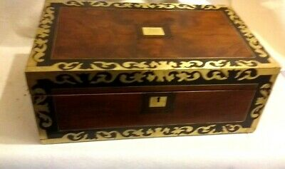 Large Brass bound Writing Slope With  Lock &key  & 2 Inkwells&2 secret drawers