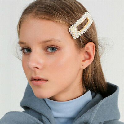 2019 Fashion Korean Girl Pearl Metal Clip Hairband Bobby Barrette Hairpin