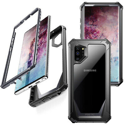 Galaxy Note 10 Plus Case,Poetic Clear Back Cover Bumper Drop Protection Black