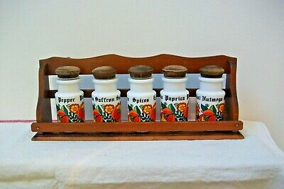 vintage french 70s spice rack with 5 spice jars with lids 22B