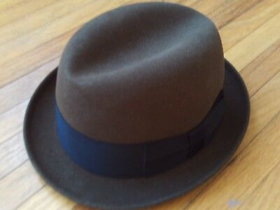 Vintage Knox brown suede hat size 7 fedora with black ribbon band great label
