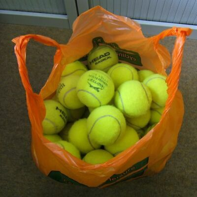 59 used tennis balls (for serving, cricket, dogs etc.)