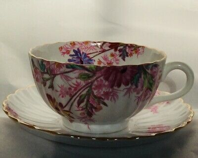 Spode Copeland Chelsea Garden China Cup and Saucer Mustard Rim