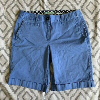 Boden Women's Light Blue Cotton Blend Khaki Bermuda Walking Shorts Size 4