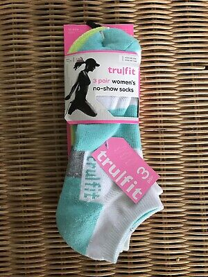 NEW Pack of 3 Tru Fit Womens NoShow Socks Bright Fun Colors Comfort Workout 9-11