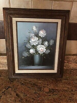 Vtg Robert Cox Still Life Floral White Flowers Blue Gray Background Oil Painting