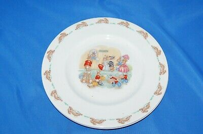 "From Royal Doulton's ""Bunnykins"" series: 2 ""Ticket Queue"" 8"" salad plates"