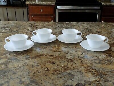 Corelle Winter Frost White Hook Handle Cups and Saucers Set of 4