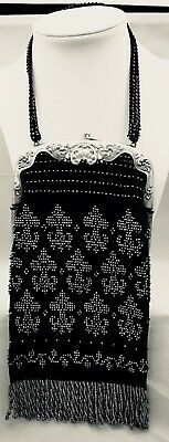 RARE Antique Gorham Micro-bead Woven STERLING SILVER Victorian Bag Fringed MINT!