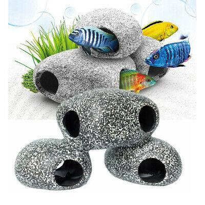 1/2/5x For Cichlid Stone Resin Rock Cave Aquarium Fish Tank Ornament Decoration